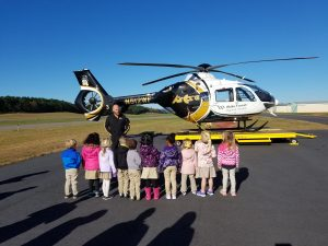 Students learning about helicopters